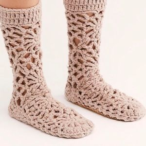 Free People Warm Wishes Crochet Slippers
